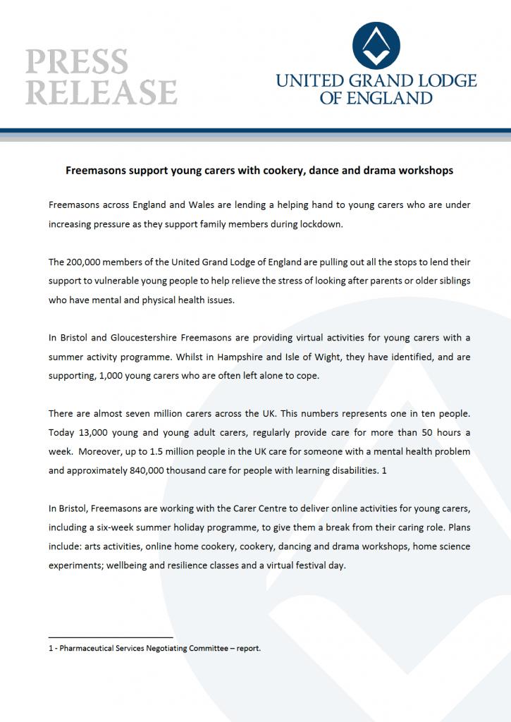 UGLE Press release 2020